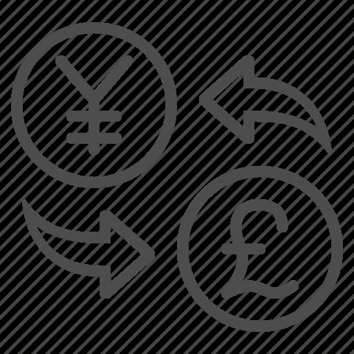 conversion, currency, exchange rate, pound, yen, yuan icon