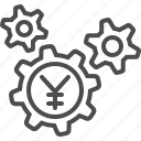 business, cogs, economy, finance, gears, yen, yuan icon