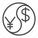 currency, dollar, exchange rate, renminbi, yen, yin yang, yuan icon