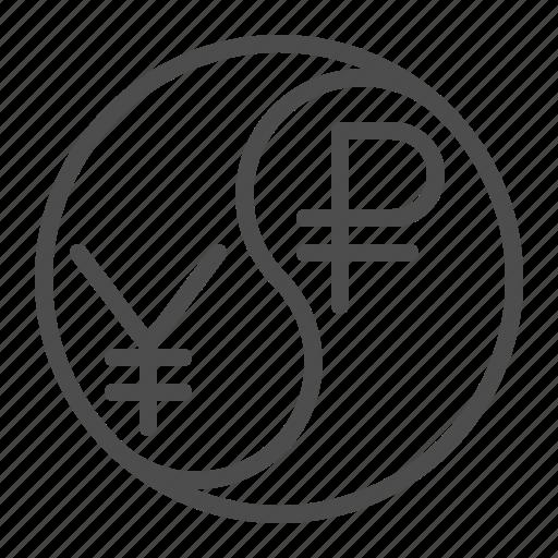 conversion, currency, exchange rate, ruble, yen, yin yang, yuan icon