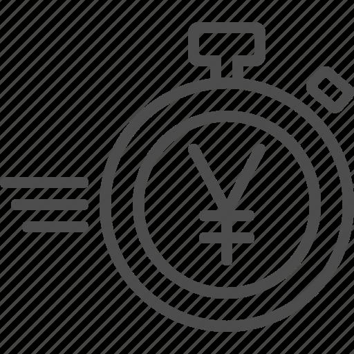 deadline, stopwatch, timer, yen, yuan icon
