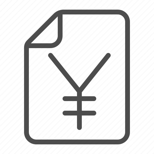 document, file, invoice, receipt, tax form, yen, yuan icon