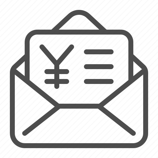 contract, envelope, invoice, letter, tax form, yen, yuan icon