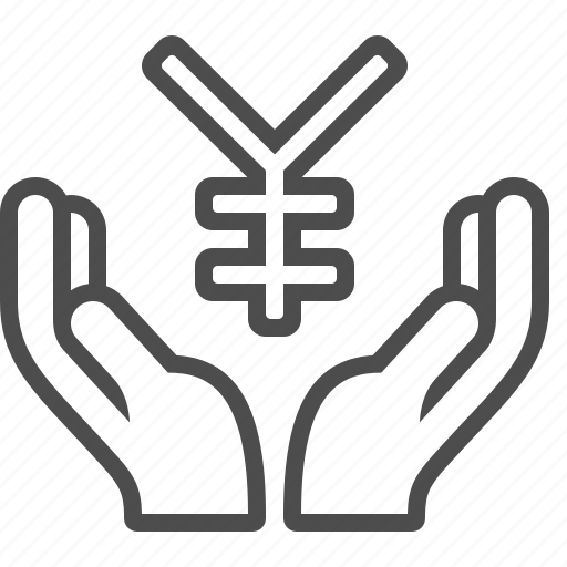 donation, hands, insurance, investment, yen, yuan icon