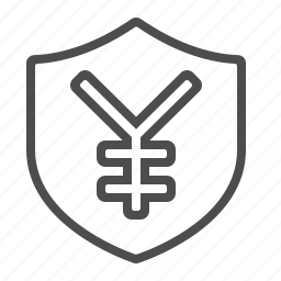 insurance, investment, security, shield, yen, yuan icon