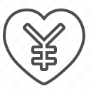 heart, love, renminbi, yen, yuan icon
