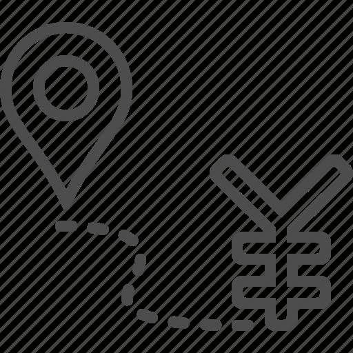 destination marker, location marker, road to success, yen, yuan icon