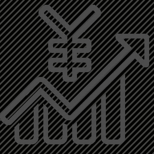 chart, exchange rate, graph, profit, yen, yuan icon