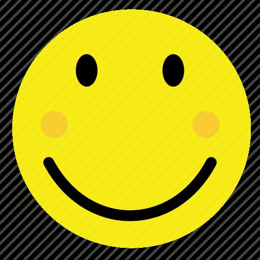 emoticon, happy, shy, smile, smiley, vintage, yellow icon