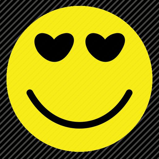 emoticon, happy, hearts, love, smiley, vintage, yellow icon