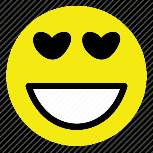 emoticon, happy, hearts, love, smiley, very, vintage icon