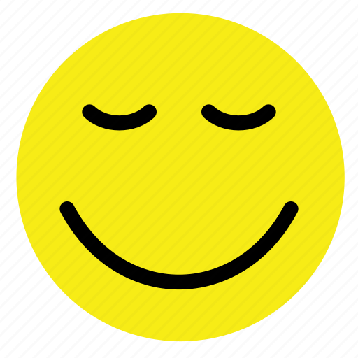 calm, emoticon, happy, relaxed, smiley, vintage, yellow icon