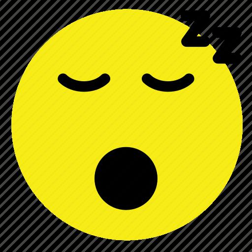 emoticon, sleep, sleeping, smiley, vintage, yellow icon