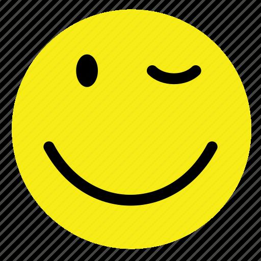 emoticon, happy, smile, smiley, vintage, wink, yellow icon