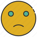 emoji, emoticon, face, sad, smiley icon