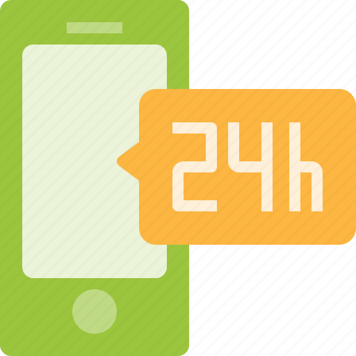 hours, mobile, online, phone, service, smart, support icon