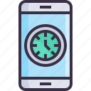 clock, device, phone, smartphone, time icon