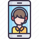 business, communication, service, smartphone, support icon