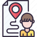 document, location, map, navigation, paper, report icon
