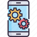 app, develop, fix, management, process, setting, smartphone icon