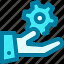 cogwheel, configuration, gear, hand, setting, settings, support
