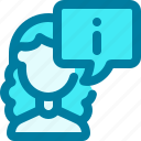 agent, woman, support, avatar, consultant, information, customer supprot icon