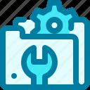 folder, gear, maintenance, repair, service, support, tech