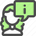 information, woman, avatar, customer support, support, consultant, agent icon