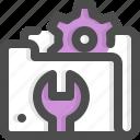 folder, gear, maintenance, repair, screwdriver, service, tech
