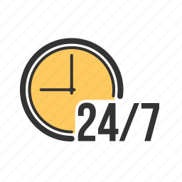 clock, day, hours, open, service, time, week icon