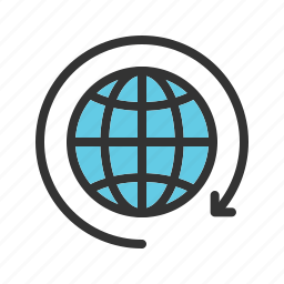 around, arrows, connection, earth, globe, hands, people icon