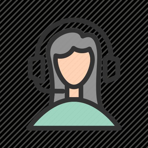 call, center, customer, female, people, representative, service icon