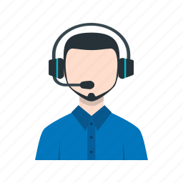 call, center, customer, male, representative, service icon