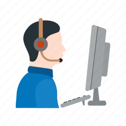 call, center, customer, headset, operator, phone, support icon