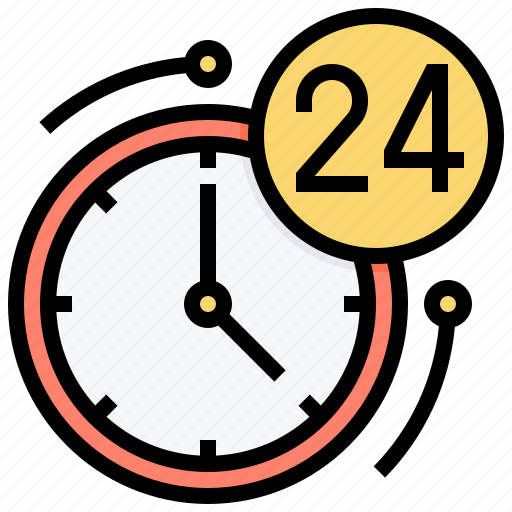 always, hours, service, support, time icon