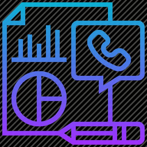 call, performance, report, service, statistics icon