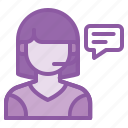 chat, communication, customer, help, lady, service, support icon
