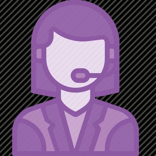 customer, customercare, help, lady, representative, service, support icon