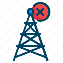 antenna, communication, error, netwrok, range, signal icon