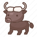 animal, bison, buffalo, bull, cartoon, mammal, wildlife icon
