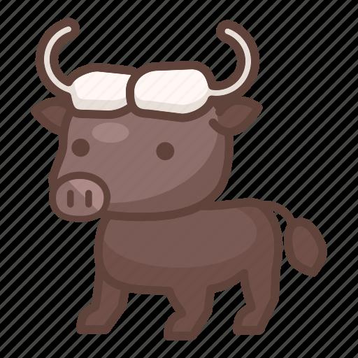 animal, bison, buffalo, bull, cartoon, mammal, wildlife icon