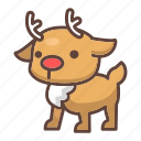 animal, antlers, cartoon, mammal, reindeer, stag, wildlife icon