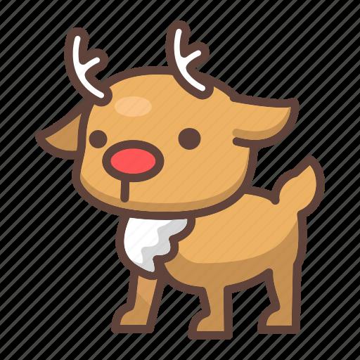 animal, antlers, cartoon, mammal, reindeer, stag, wildlife icon