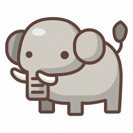 animal, cartoon, elephant, mammal, safari, wildlife, zoo icon