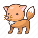 animal, cartoon, cute, fox, fur, mammal, wildlife icon