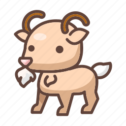 animal, cartoon, domestic, farm, goat, horn, mammal icon