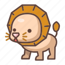 animal, cartoon, cute, lion, mammal, wildlife, zoo icon