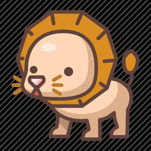 animal, cartoon, cute, lion, mammal, wildlife, zoo icon