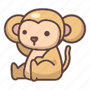 animal, ape, cartoon, chimpanzee, cute, monkey, wild icon