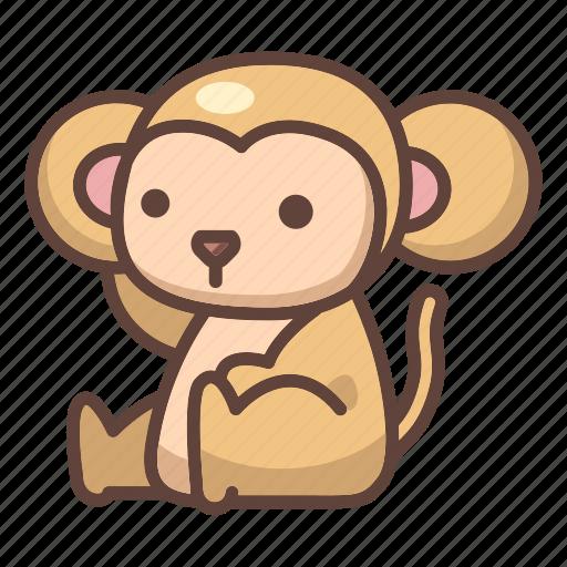animal, ape, cartoon, chimpanzee, cute, monkey, wild icon